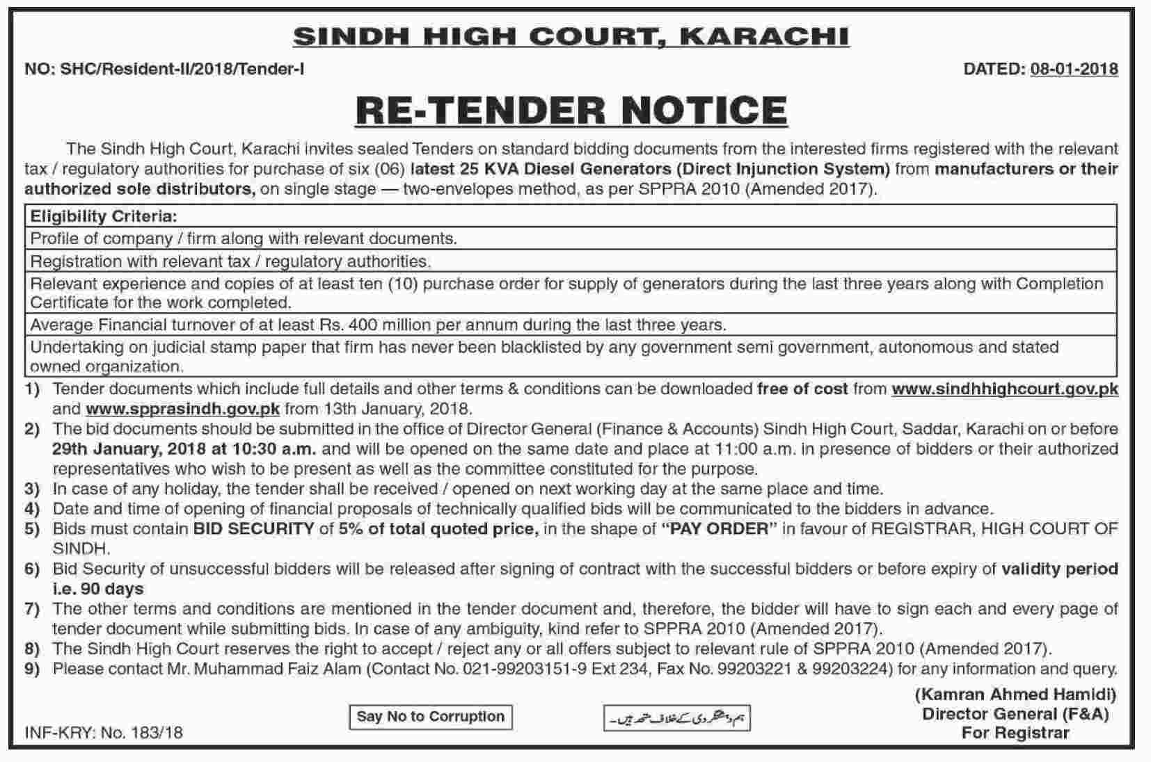 notice dated 08 01 2018 regarding supply installation of 25 kva diesel generators direct injunction system at the residences of the honble judges